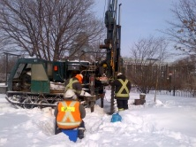 Snowy day for soil testing